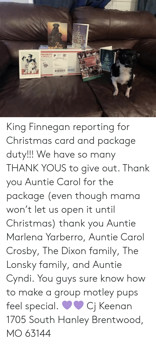 Priority King Finnegan Reporting For Christmas Card And