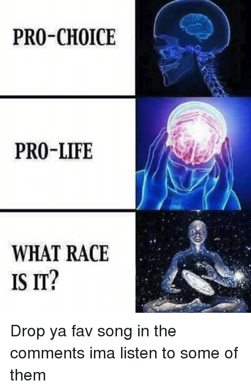 Life, Memes, and Pro: PRO-CHOICE  PRO-LIFE  WHAT RACE  IS IT? Drop ya fav song in the comments ima listen to some of them