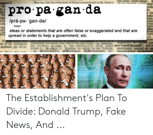 Donald Trump Fake: pro pa gan da  /prä-pe- gan-da/  noun  ideas or statements that are often false or exaggerated and that are  spread in order to help a government, etc The Establishment's Plan To Divide: Donald Trump, Fake News, And ...