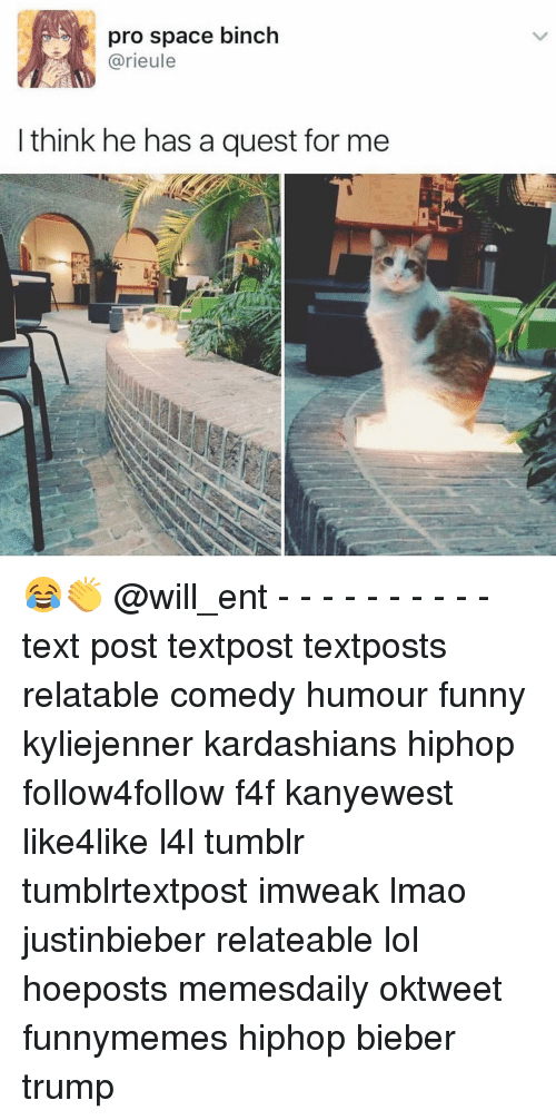 Funny, Kardashians, and Lmao: pro space binch  arieule  think he has a quest for me 😂👏 @will_ent - - - - - - - - - - text post textpost textposts relatable comedy humour funny kyliejenner kardashians hiphop follow4follow f4f kanyewest like4like l4l tumblr tumblrtextpost imweak lmao justinbieber relateable lol hoeposts memesdaily oktweet funnymemes hiphop bieber trump