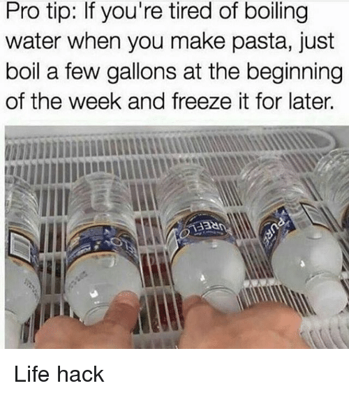 Life, Memes, and Life Hack: Pro tip: If you're tired of boiling  water when you make pasta, just  boil a few gallons at the beginning  of the week and freeze it for later.  1338 Life hack