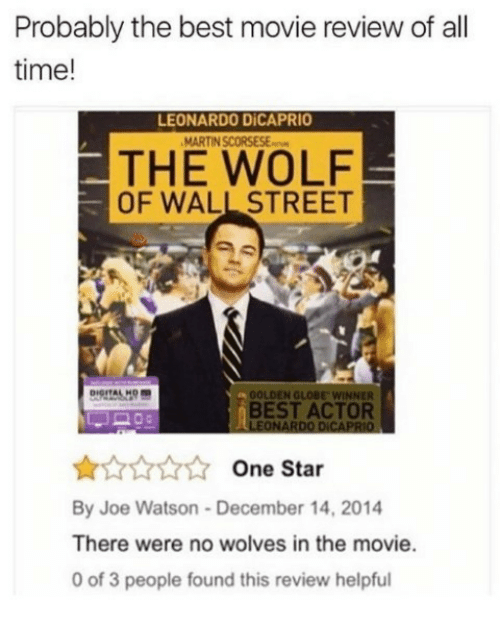 best movie: Probably the best movie review of all  time!  LEONARDO DİCAPRIO  THE WOLF  OF WALL STREET  OOLDEN GLOBE WINNER  BEST ACTOR  LEONARDO DICAPRIO  One Star  By Joe Watson-December 14, 2014  There were no wolves in the movie.  0 of 3 people found this review helpful