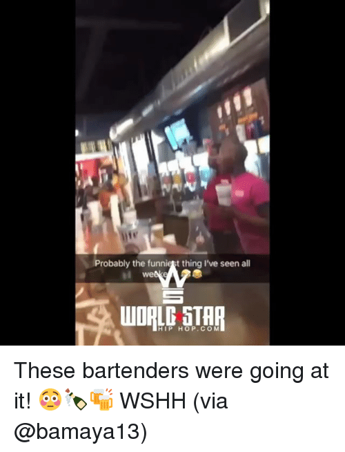 Bartenders: Probably the funniest thing I've seen all  we  HIP HOP.COM These bartenders were going at it! 😳🍾🍻 WSHH (via @bamaya13)