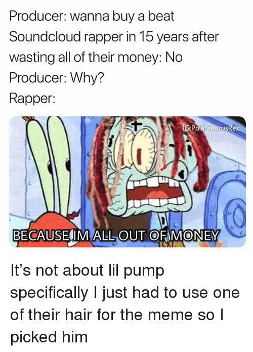 Meme, Memes, and Money: Producer: wanna buy a beat  Soundcloud rapper in 15 years after  wasting all of their money: No  Producer: Why?  Rapper:  PolarSaurusRe  BECAUSELIM ALL OUT OF MONEY It's not about lil pump specifically I just had to use one of their hair for the meme so I picked him