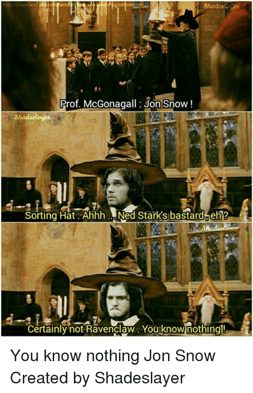 you know nothing jon snow: Prof. McGonagall: Jon Snow  Shades eayen  Sorting Hat Ahhh Ned Stark's bastard eh 1  Certainly not Ravenclaw You know nothing! You know nothing Jon Snow   Created by Shadeslayer
