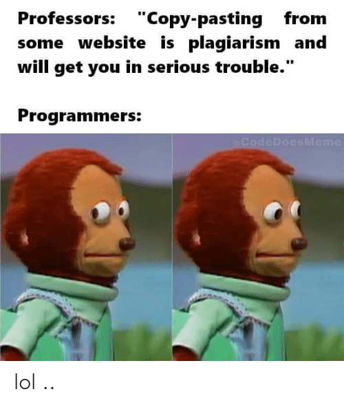 """plagiarism: Professors: """"Copy-pasting from  some website is plagiarism and  will get you in serious trouble.""""  Programmers:  (@CodeDoesMeme lol .."""