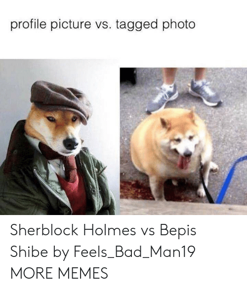 holmes: profile picture vs. tagged photo Sherblock Holmes vs Bepis Shibe by Feels_Bad_Man19 MORE MEMES