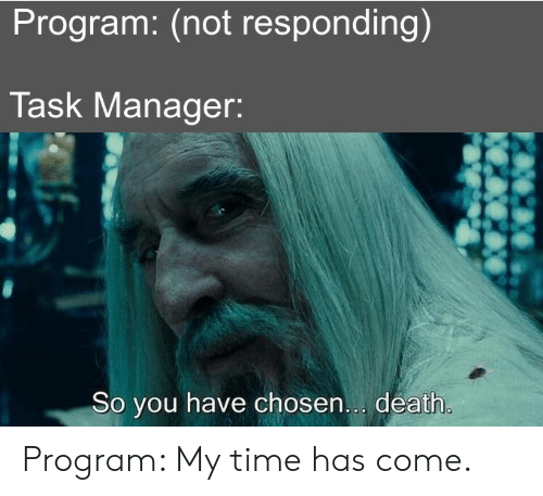 not responding: Program: (not responding)  Task Manager:  So you have chosen... death. Program: My time has come.