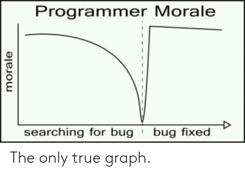 Graph: Programmer Morale  bug fixed  searching for bug  morale The only true graph.