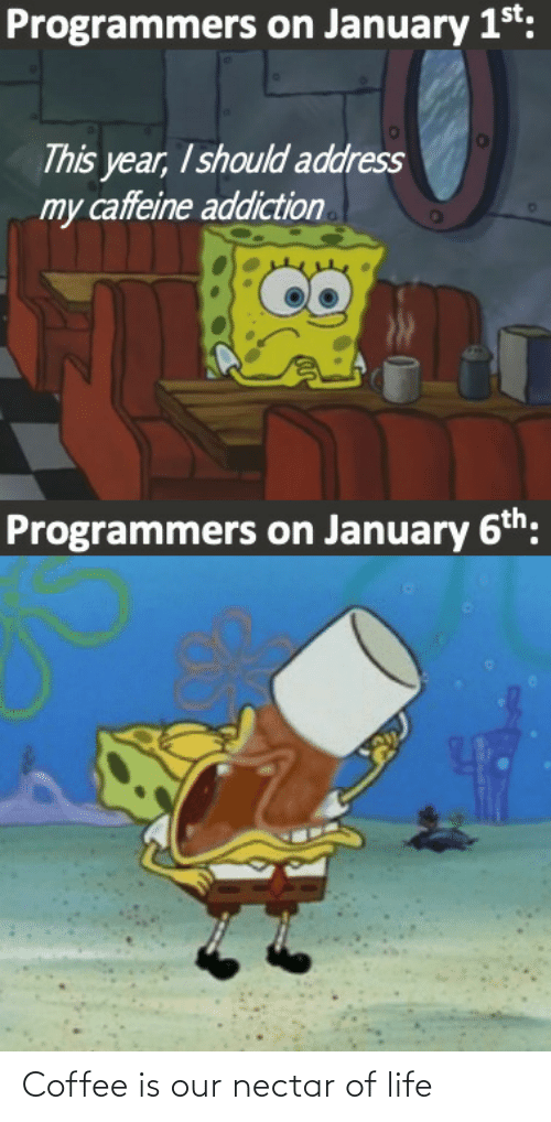 january: Programmers on January 1st:  This year, I should address  my caffeine addiction  Programmers on January 6th: Coffee is our nectar of life