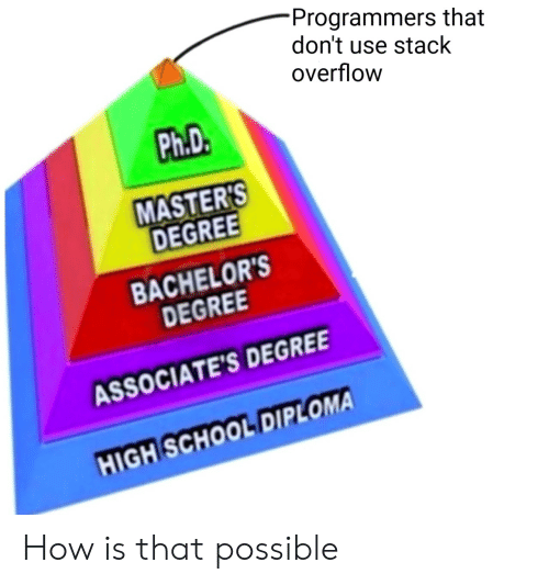 Masters: Programmers that  don't use stack  overflow  Ph.D.  MASTER'S  DEGREE  BACHELOR'S  DEGREE  ASSOCIATE'S DEGREE  HIGH SCHOOL DIPLOMA How is that possible