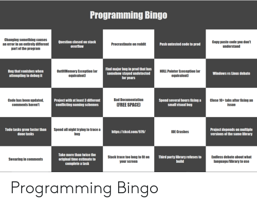 Null: Programming Bingo  Changing something causes  an error in an entirely different  part of the program  Question closed on stack  overflow  Copy paste code you don't  understand  Procrastinate on reddit  Push untested code to prod  Find major bug in prod that has  somehow stayed undetected  for years  Bug that vanishes when  attempting to debug it  OutOfMemory Exception Cor  equivalent)  NULL Pointer Exeception Cor  equivalent  Windows vs Linux debate  Bad Documentation  Close 10+ tabs after fixing an  Code has been updated,  comments haven't  Project with at least 3 different  conflicting naming schemes  Spend several hours fixing a  small visual bug  FREE SPACE)  issue  Spend all night trying to trace a  bug  Project depends on multiple  versions of the same library  Todo tasks grow faster than  done tasks  IDE Crashes  http://xkcd.com/979/  Take more than twice the  Endless debate about what  language/library to use  Stack trace too long to fit on  Third party library refuses to  build  Swearing in comments  original time estimate to  complete a task  your screen Programming Bingo