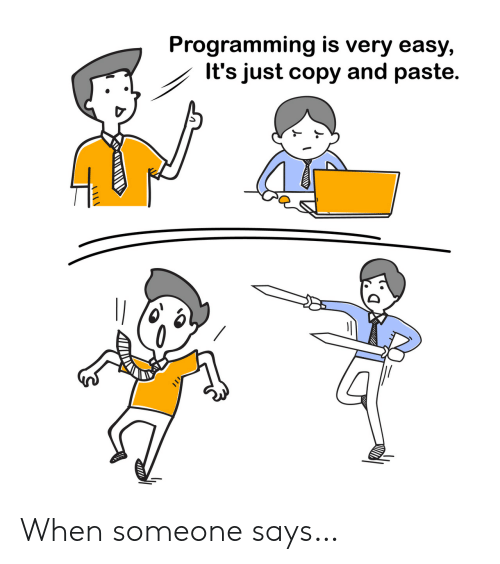 When Someone Says: Programming is very easy,  It's just copy and paste. When someone says…