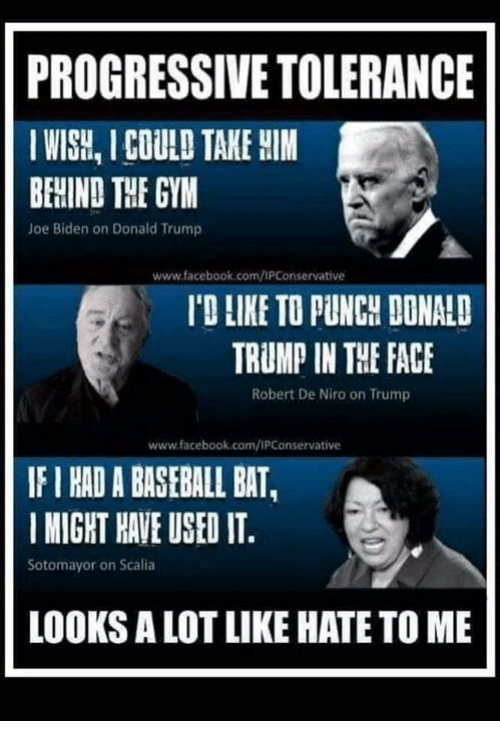 biden: PROGRESSIVE TOLERANCE  IWISH, I COULD TAKE HIM  BEHIND THE GYM  Joe Biden on Donald Trump  www.facebook.com/IPConservative  'D LIKE TO PUNCH DONALD  TRUMP IN THE FACE  Robert De Niro on Trump  www.facebook.com/IPConservative  IF I HAD A BASEBALL BAT,  MIGHT HAVE USED IT  Sotomayor on Scalia  LOOKS A LOT LIKE HATE TO ME