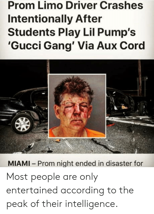 limo: Prom Limo Driver Crashes  Intentionally After  Students Play Lil Pump's  'Gucci Gang' Via Aux Cord  MIAMI Prom night ended in disaster for Most people are only entertained according to the peak of their intelligence.