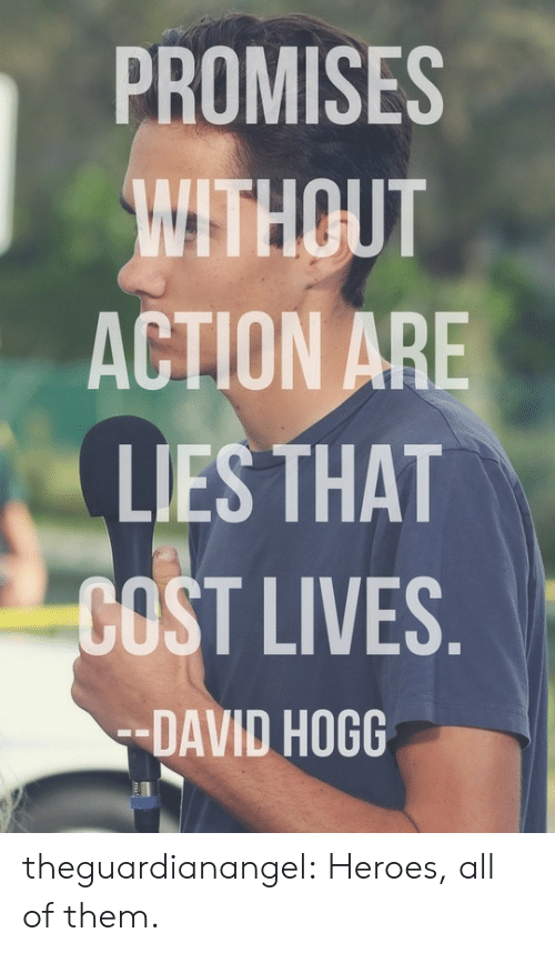 hogg: PROMISES  THOUT  ACTION ARE  LIES THAT  COST LIVES  -DAVID HOGG theguardianangel:  Heroes, all of them.