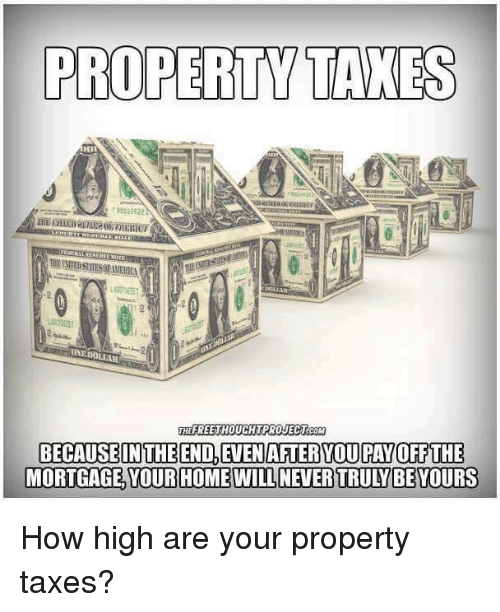 How High, Memes, and Taxes: PROPERTY TAXES  RESEITEN  EFREETHOUCHTPROJECT COM  BECAUSE IN THE END, EVENAFTERYOU PAY OFF THE  MORTGAGE YOUR HOME WILL NEVERTRULYBE YOURS How high are your property taxes?