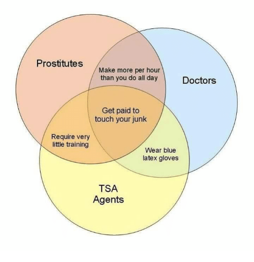 prostitutes: Prostitutes  Make more per hour  than you do all day  Doctors  Get paid to  touch your junk  Require very  little training  Wear blue  latex gloves  TSA  Agents