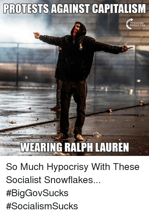 Ralph Lauren: PROTESTS AGAINST CAPITALISM  TURNING  POINT USA  WEARING RALPH LAUREN So Much Hypocrisy With These Socialist Snowflakes... #BigGovSucks #SocialismSucks
