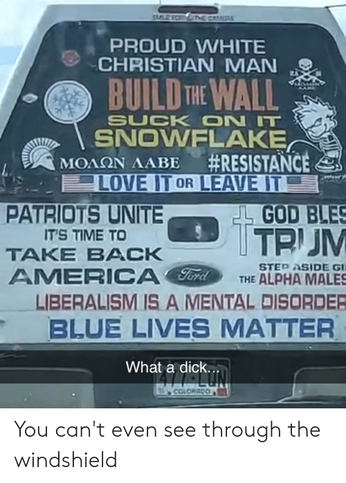 build-the-wall: PROUD WHITE  CHRISTIAN MAN  BUILD THE WALL  SUCK ON IT  SNOWELAKE  #RESISTANCE  LOVE IT OR LEAVE IT  GOD BLES  ΜΟΛΩΝ ΛΑΒΕ  PATRIOTS UNITE  TTP JM  IT'S TIME TO  TAKE BACK  STEP ASIDE GI  THE ALPHA MALES  AMERICA  LIBERALISM IS A MENTAL DISORDER  BLUE LIVES MATTER  What a dick..  COLORADO You can't even see through the windshield