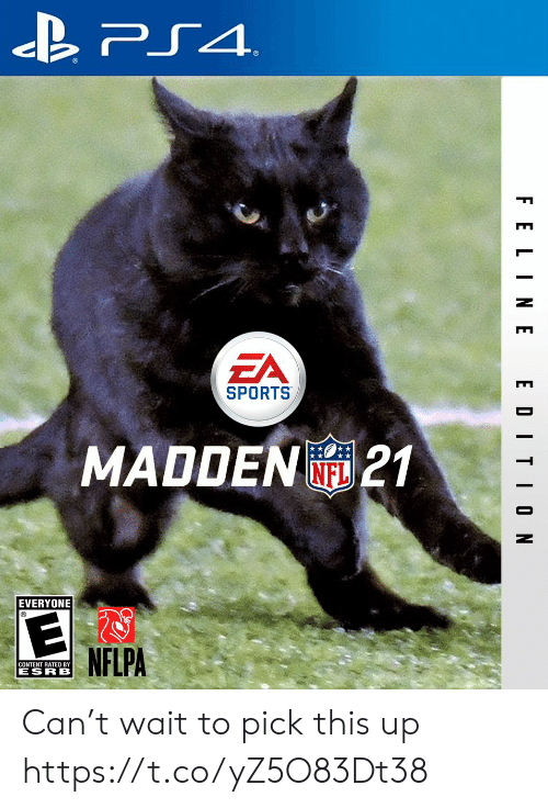 ps4: PS4  EA  SPORTS  MADDEN21  NFL  EVERYONE  NFLPA  CONTENT RATED BY  ESRB  F ELINE  EDITION Can't wait to pick this up https://t.co/yZ5O83Dt38