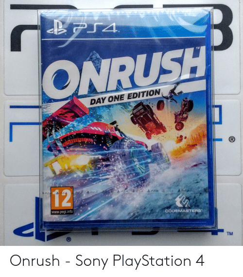 sony playstation: PS4  TM  ONRUSH  DAY ONE EDITION  TM  12  Pd  www.pegi.info  CODEMASTERS  TM Onrush - Sony PlayStation 4
