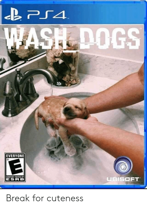 cuteness: PS4  WASH DOGS  T  EVERYONE  CONTENT RATED BY  UBISOFT  ESRB Break for cuteness