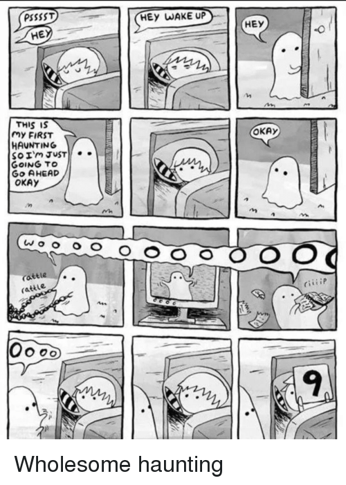 Okay, Haunting, and Wholesome: PSSSST  HEy WAKE UP  HE  HEY  THIS IS  my FIRST  HAUNTING  OKAy  GoING TO  Go AHEAD  OKAY  attle  rattle  9 Wholesome haunting