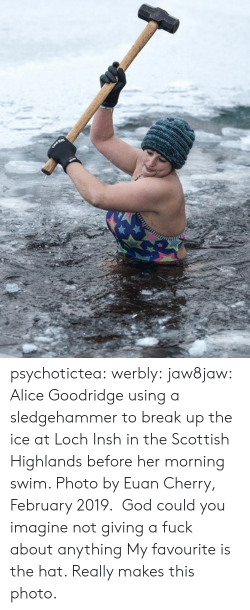 break up: psychotictea:  werbly:  jaw8jaw: Alice Goodridge using a sledgehammer to break up the ice at Loch Insh in the Scottish Highlands before her morning swim. Photo by Euan Cherry, February 2019.  God could you imagine not giving a fuck about anything   My favourite is the hat. Really makes this photo.