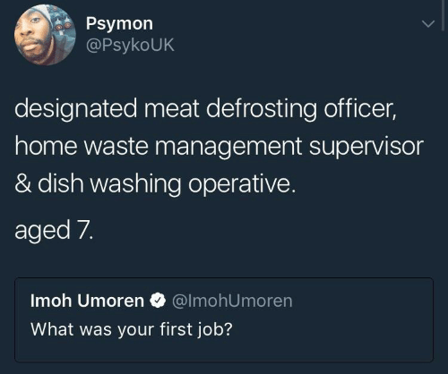 Designated: Psymon  PsykoUK  designated meat defrosting officer,  home waste management supervisor  & dish washing operative.  aged 7.  Imoh Umoren @lmohUmoren  What was your first job?