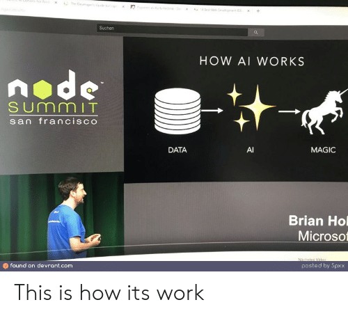 brian: ptibmsFor Nod  The Deveopes o  s fehD  4 Best We Devepnt  +  x  Suchen  HOW AI WORKS  node  SUmmIT  san francisco  DATA  AI  MAGIC  Brian Ho  Microso  Nächstes Video  found on devrant.com  posted by Spxx This is how its work