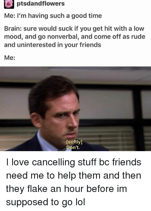 Friends, Lol, and Love: ptsdandflowers  Me: I'm having such a good time  Brain: sure would suck if you get hit with a low  mood, and go nonverbal, and come off as rude  and uninterested in your friends  Me  [softly]  Don't. I love cancelling stuff bc friends need me to help them and then they flake an hour before im supposed to go lol
