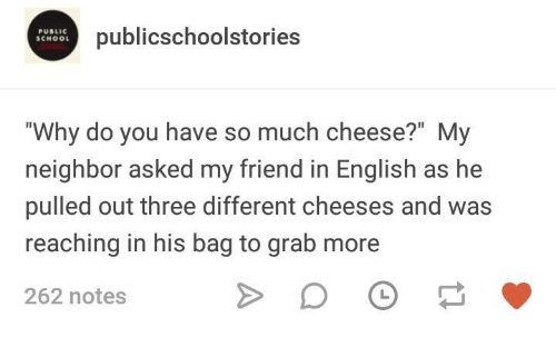 "School, English, and Humans of Tumblr: PUBLIC  SCHOOL  publicschoolstories  ""Why do you have so much cheese?"" My  neighbor asked my friend in English as he  pulled out three different cheeses and was  reaching in his bag to grab more  262 notes"