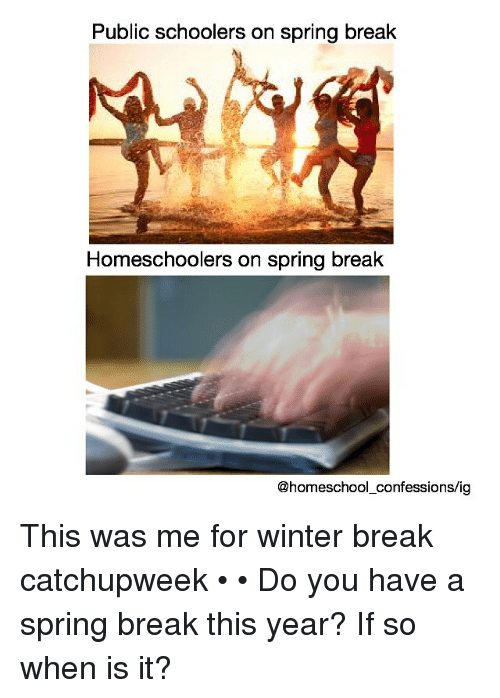 Memes, School, and Winter: Public schoolers on spring break  Homeschoolers on spring break  school confessions/ig This was me for winter break catchupweek • • Do you have a spring break this year? If so when is it?