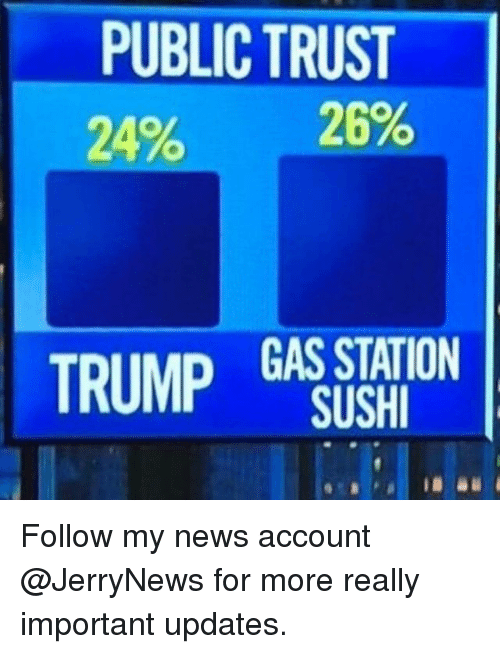 Importanter: PUBLIC TRUST  20% 29%  TRUMP GAS STATION  SUSH Follow my news account @JerryNews for more really important updates.