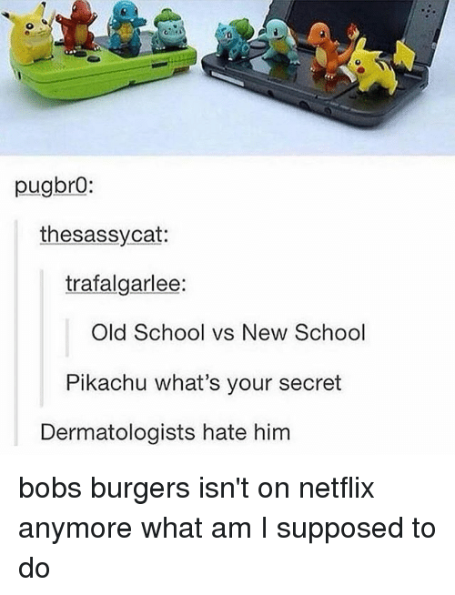 what am i supposed to do: pugbro:  thesassycat:  trafalgarlee:  old School vs New School  Pikachu what's your secret  Dermatologists hate him bobs burgers isn't on netflix anymore what am I supposed to do