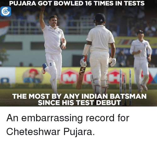 Cheteshwar Pujara: PUJARA GOT BOWLED 16 TIMES IN TESTS  THE MOST BY ANY INDIAN BATSMAN  SINCE HIS TEST DEBUT An embarrassing record for Cheteshwar Pujara.