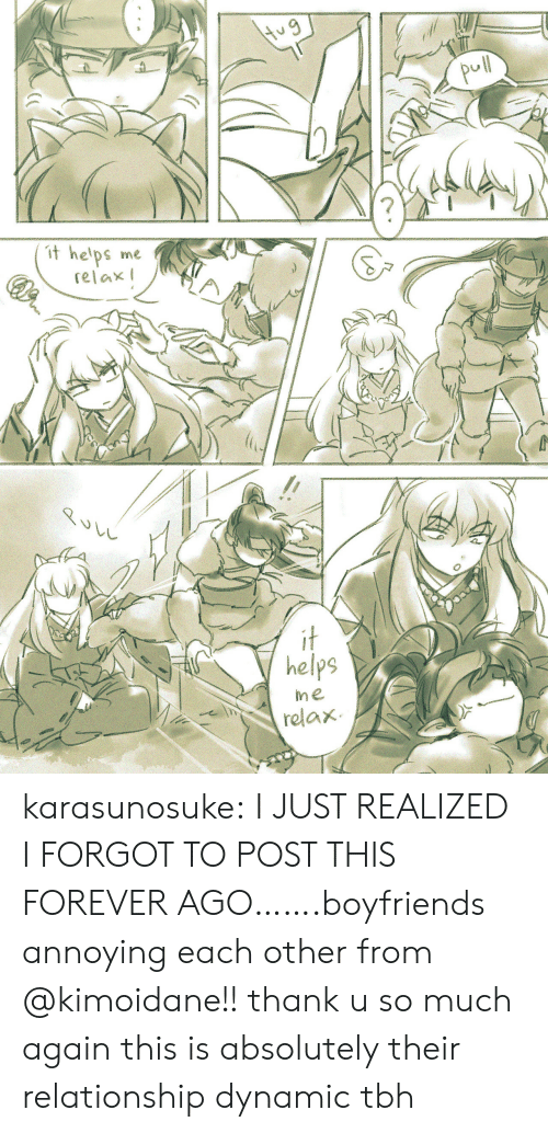 boyfriends: pul  t he'ps  me  relax  it  helps  me  relax  $TO karasunosuke:  I JUST REALIZED I FORGOT TO POST THIS FOREVER AGO…….boyfriends annoying each other from @kimoidane!! thank u so much again this is absolutely their relationship dynamic tbh