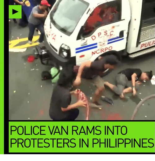 rpo: PULA  RPO  POLICE IAN RAMS INTO  PROTESTERS IN PHILIPPINES