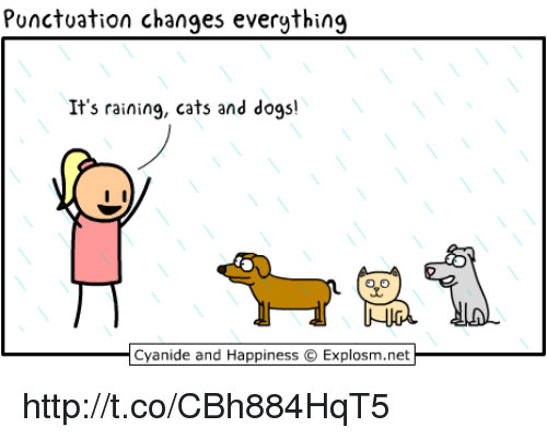 rain cat: Punctuation changes everything  It's raining, cats and dogs!  Cyanide and Happiness O Explosm.net http://t.co/CBh884HqT5