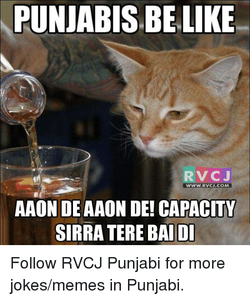 Jokes Meme: PUNJABISBELIKE  RV CJ  WWW. RVCU.COM  AAON DE AAON DE! CAPACITY  SIRRA TERE BAI DI Follow RVCJ Punjabi for more jokes/memes in Punjabi.