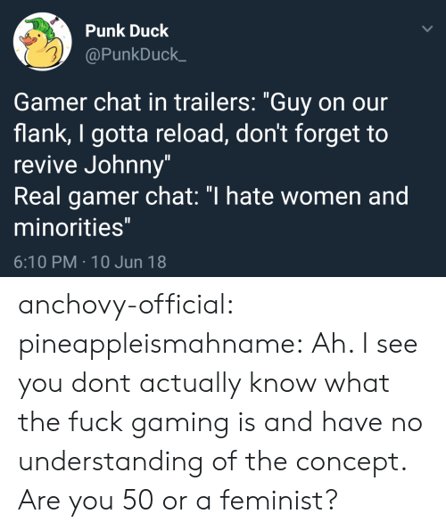 """Minorities: Punk Duck  @PunkDuck_  Gamer chat in trailers: """"Guy on our  flank, I gotta reload, don't forget to  revive Johnny""""  Real gamer chat: """"I hate women and  minorities  6:10 PM 10 Jun 18 anchovy-official:  pineappleismahname: Ah. I see you dont actually know what the fuck gaming is and have no understanding of the concept. Are you 50 or a feminist?"""