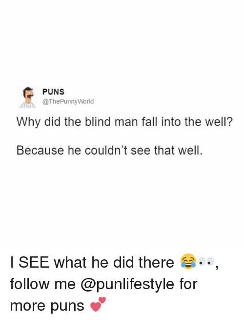 Fall, Memes, and Puns: PUNS  @The Punny World  Why did the blind man fall into the well?  Because he couldn't see that well. I SEE what he did there 😂👀, follow me @punlifestyle for more puns 💕