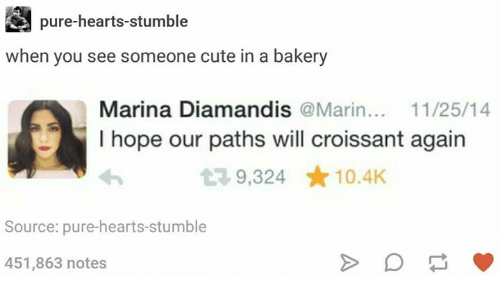 Cute, Hearts, and Humans of Tumblr: pure-hearts-stumble  when you see someone cute in a bakery  Marina Diamandis @Marin.. 11/25/14  I hope our paths will croissant again  9,324 ★10.4K  Source: pure-hearts-stumble  451,863 notes