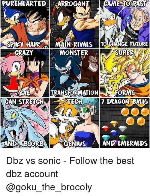Memes, 🤖, and Dbz: PUREHEARTED  FSARROGANT CAME TO PAST  SPIKY HAIR MAIN RIVALS TO CHANGE FUTURE  MONSTER  CRAZY  FORMS  TRANSFORMATION  TECH  7 DRAGON BALLS  CAN STRETCH  AND ABSORB  GENIUS  AND EMERALDS Dbz vs sonic - Follow the best dbz account @goku_the_brocoly