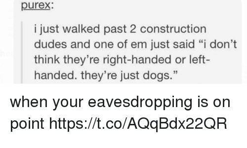 """Dogs, Construction, and Ems: purex  i just walked past 2 construction  dudes and one of em just said """"i don't  think they're right-handed or left-  handed. they're just dogs."""" when your eavesdropping is on point https://t.co/AQqBdx22QR"""