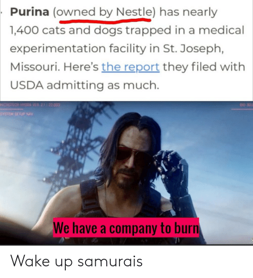 Setup: Purina (owned by Nestle) has nearly  1,400 cats and dogs trapped in a medical  experimentation facility in St. Joseph,  Missouri. Here's the report they filed with  USDA admitting as much.  MICROTECH HYDRA VER 21 22.003  BID 302  SYSTEM SETUP NAV  We have a company to burn Wake up samurais