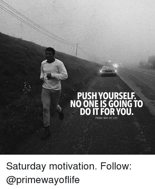 Life, Memes, and 🤖: PUSH YOURSELF.  NO ONE IS GOING TO  DO IT FOR YOU.  PRIME WAY OF LIFE Saturday motivation. Follow: @primewayoflife