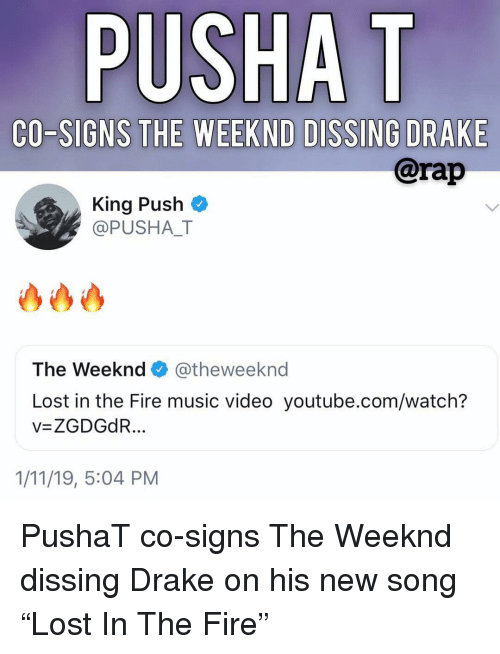 """Dissing: PUSHA T  CO-SIGNS THE WEEKND DISSING DRAKE  @rap  King Push  @PUSHAT  The Weeknd@theweeknd  Lost in the Fire music video youtube.com/watch?  v=ZGDGdR  1/11/19, 5:04 PM PushaT co-signs The Weeknd dissing Drake on his new song """"Lost In The Fire"""""""