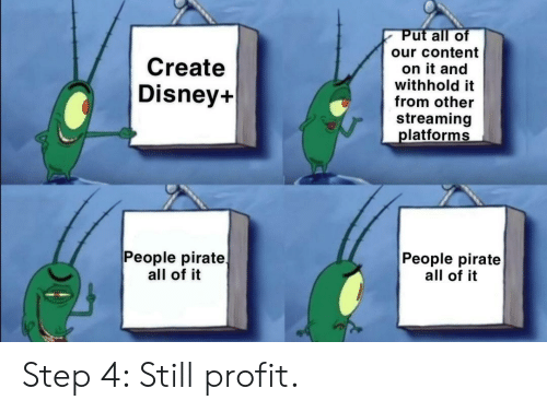 streaming: Put all of  our content  Create  on it and  withhold it  from other  Disney+  streaming  platforms  People pirate  all of it  People pirate  all of it Step 4: Still profit.